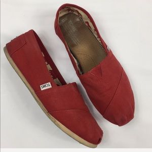 TOMS red shoes size 10